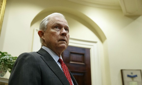 Attorney General Jeff Sessions waits for the start of a meeting between President Donald Trump and the Fraternal Order of Police on March 28.