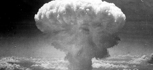 The mushroom cloud above Nagasaki after atomic bombing on August 9, 1945