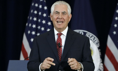 Secretary of State Rex Tillerson speaks to employees on Wednesday.