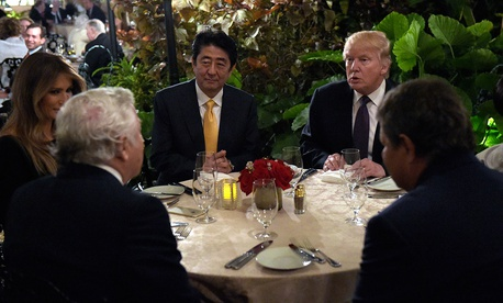 Donald Trump dines with Shinzō Abe at Mar-a-Lago in February.