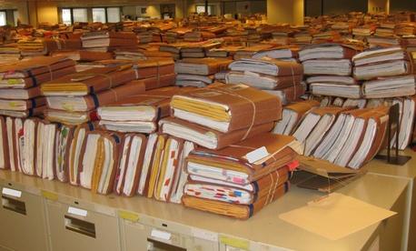 Veterans Affairs claim folders sit in a regional office in Winston-Salem, N.C. in 2012.