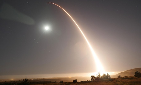 An unarmed Minuteman III intercontinental ballistic missile launches during an operational test at 12:02 a.m. Pacific Daylight Time May 3, 2017, at Vandenberg Air Force Base, Calif.