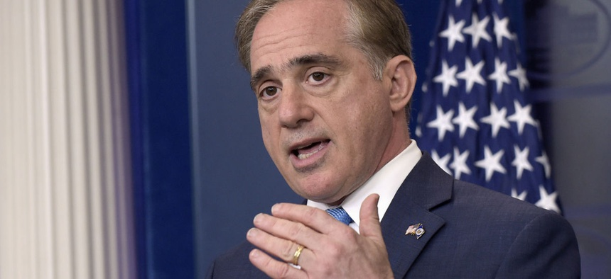 Veterans Affairs Secretary David Shulkin speaks during a briefing at the White House on Wednesday.