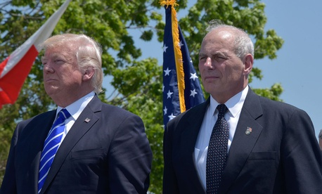 Kelly and Trump attend the Coast Guard graduation ceremony in Connecticut in May