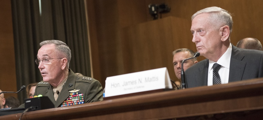 Marine Corps Gen. Joseph F. Dunford Jr., chairman of the Joint Chiefs of Staff, and Defense Department chief James N. Mattis testify on Capitol Hill on theNational Defense Authorization Budget Request in June.