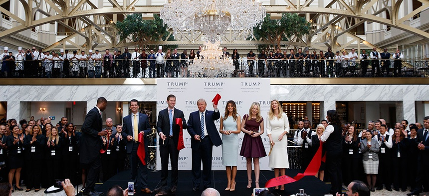 Members of the Trump family attend the grand opening ceremony of the Trump International Hotel- Old Post Office, in Washington.