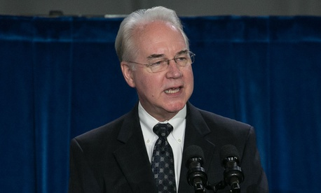 HHS Secretary Tom Price speaks at the agency's headquarters on June 13.