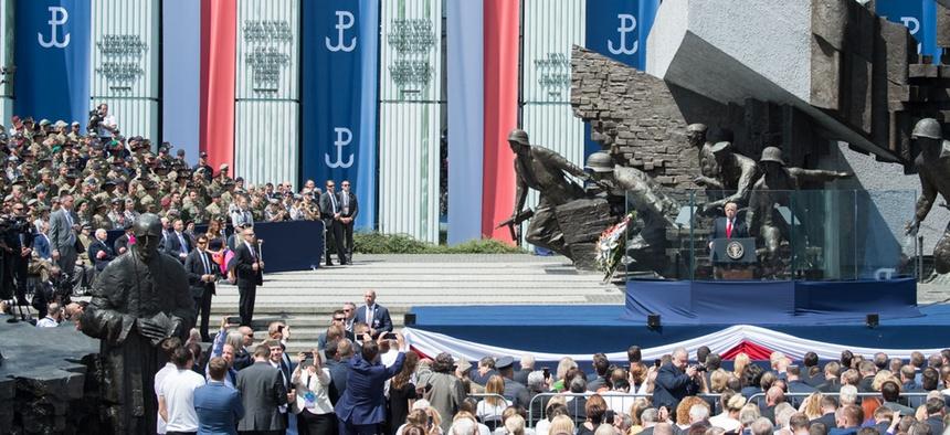 Trump speaks at at Krasinski Square at the Royal Castle in Warsaw on Thursday.