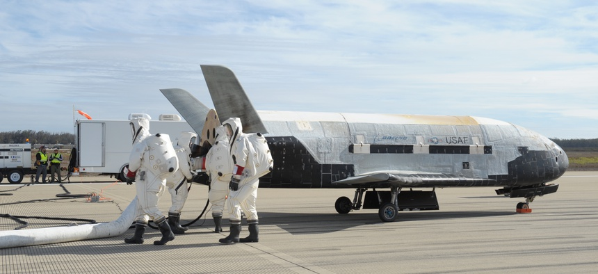 The X-37B Orbital Test Vehicle mission 3 (OTV-3), the Air Force's unmanned, reusable space plane, landed at Vandenberg Air Force Base in 2014.