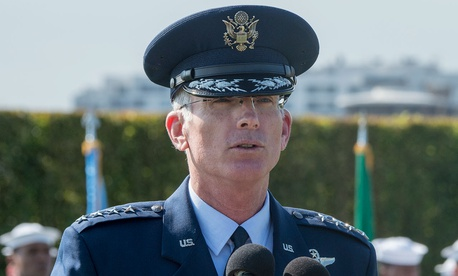 Air Force Gen. Paul J. Selva, vice chairman of the Joint Chiefs of Staff, speaks during a POW/MIA ceremony at the Pentagon in 2016.