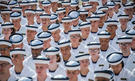 Incoming midshipmen participate in the Oath of Office Ceremony, during induction day (I-day) at the U.S. Naval Academy in Annapolis, Maryland, June 29, 2017.