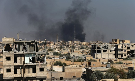 A view of Raqqa as U.S.-backed force battle against ISIS militants on July 27.