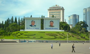 The monument of Kim Il Sung and Kim Jong Il in Pyongyang in 2012.