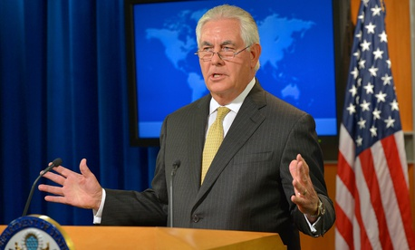 Rex Tillerson briefs reporters on Aug. 1.