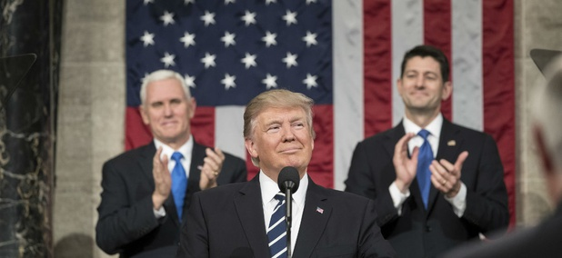 Flanked by Vice President Mike Pence and Speaker of the House Paul Ryan, President Donald Trump delivers his Joint Address to Congress in February.