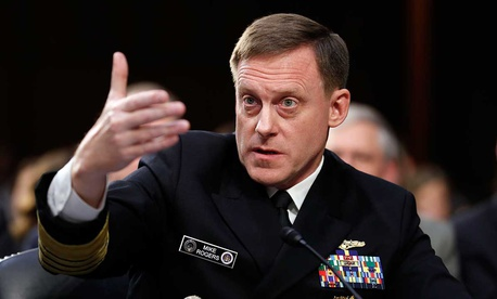 ational Security Agency director Adm. Mike Rogers speaks during a Senate Intelligence Committee hearing about the Foreign Intelligence Surveillance Act, on Capitol Hill in June.