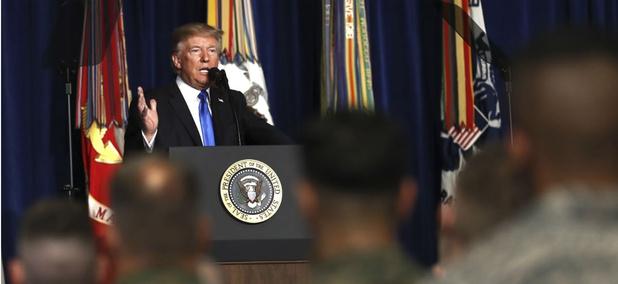 President Donald Trump speaks at Fort Myer in Arlington Va., on Aug. 21.