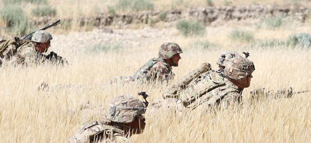 Soldiers wait in the tall grass with their Afghan National Army counterpart during a combined arms live fire training exercise in Laghman province in 2015.
