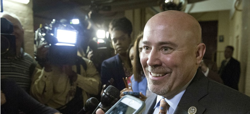 Rep. Tom MacArthur, R-N.J. speaks with reporters on Capitol Hill in May.