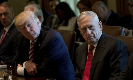 President Donald Trump and Defense Secretary Jim Mattis attend a Cabinet meeting June 12.