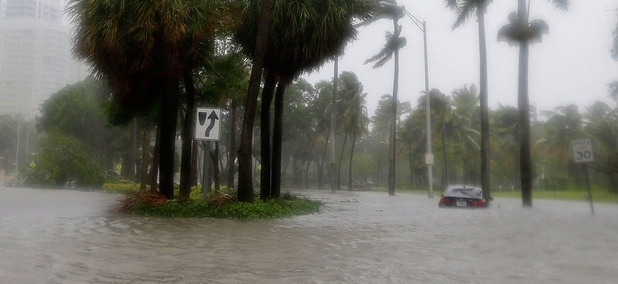 Heavy rains flood the streets in the Coconut Grove area in Miami on Sept. 10.