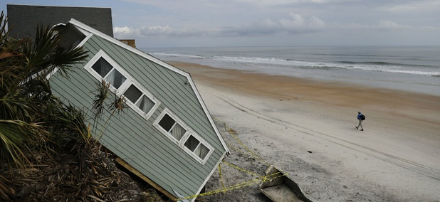 A house rests on the beach in Florida following Hurricane Irma.