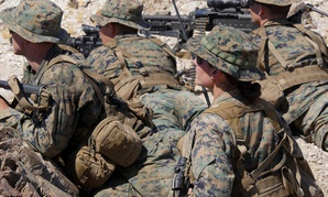 Marines participate in an exercise during the Infantry Officer Course at Marine Corps Air Ground Combat Center Twentynine Palms, California, Sept. 18, 2017.