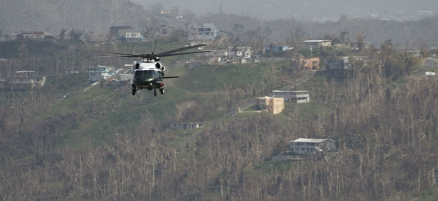 Marine One carries President Trump to survey the damage from Hurricane Maria in Puerto Rico.