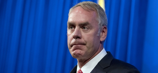 Interior Secretary Ryan Zinke speaks at the Heritage Foundation last week. Senior executive Joel Clement said he is resigning due to wasteful spending and Zinke's poor leadership.