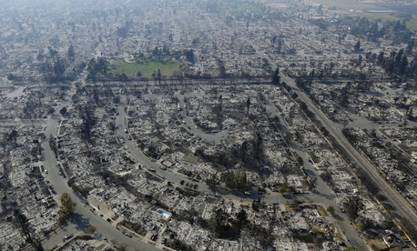 An aerial view of burned homes in Santa Rosa, California, as of Wednesday.