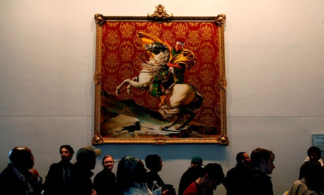 A long line of voters moves slowly past a painting by Kehinde Wiley at a polling site in the Brooklyn Museum of Art in New York in 2008.