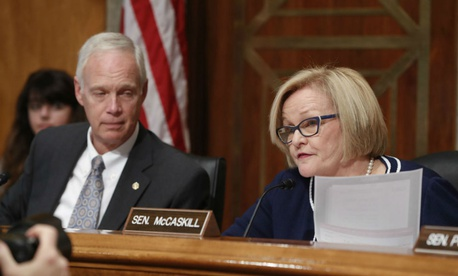 Chairman Sen. Ron Johnson, R-Wis., left, watches as ranking member Sen. Claire McCaskill, D-Mo., asks questions at the Senate Committee on Homeland Security and Governmental Affairs.