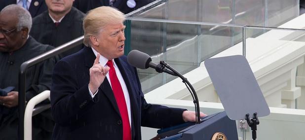 Trump speaks at his inauguration.