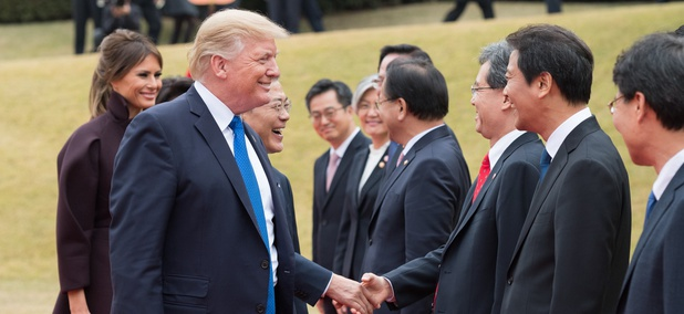 Trump greets South Korean leaders Tuesday.