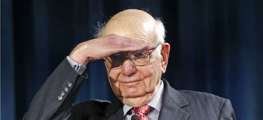 At an event honoring former Federal Reserve chairman Paul Volcker, above, speakers urged federal unions to support efforts to hold employees accountable.