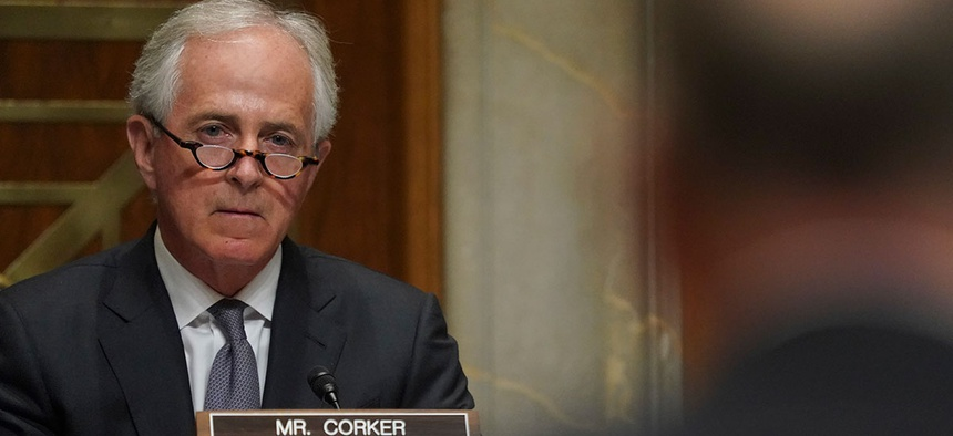 Se. Bob Corker listens during a hearing Tuesday.