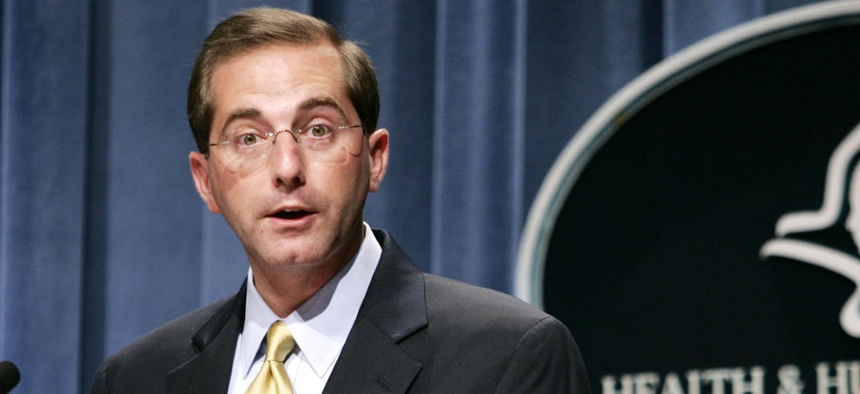 HHS secretary nominee Alex Azar holds a press conference at HHS in 2006, when he was deputy secretary.
