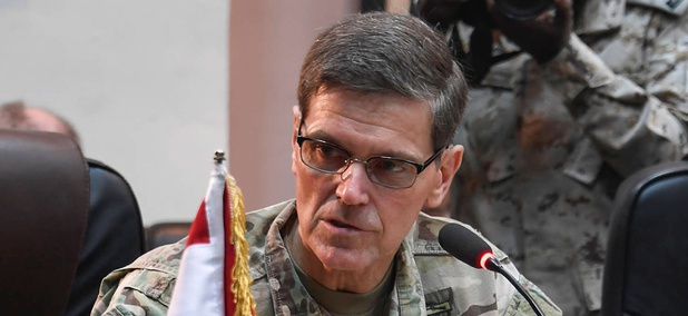 Gen Joseph L. Votel, commander United States Central Command, gives opening remarks during the Chairman of Defense tri-lateral discussion between Iraq, Saudi Arabia and the United States during his visit to Iraq in July.