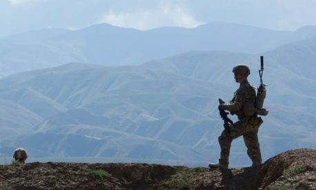 Soldiers from Blackfoot Troop, 6th Squadron, 4th Cavalry Regiment patrol outside their forward operating base in 2013.