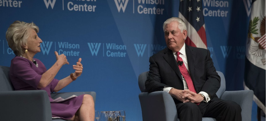 Secretary of State Rex Tillerson participates in a conversation with Wilson Center President and CEO Jane Harman at the Wilson Center in Washington on Nov. 28.