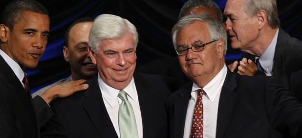 Then-President Obama stands with then-Sen. Chris Dodd, D-Conn. (left) and then-Rep. Barney Frank, D-Mass., in 2010 after the signing of the financial reform law that created CFPB.