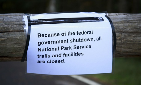 A sign posted at Mount Rainier National Park during the 2013 government shutdown alerts visitors to its closure.