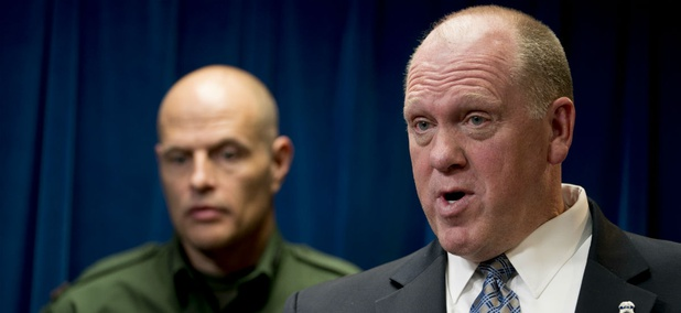 ICE acting Director Thomas Homan (right) and CBP acting Deputy Commissioner Ronald Vitiello hold a press conference Tuesday.