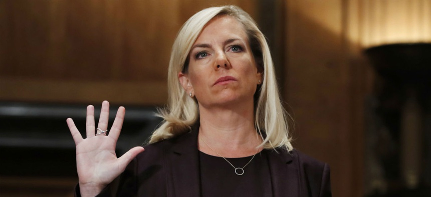 Kirstjen Nielsen is sworn in at her Senate confirmation hearing in November.