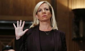 Kirstjen Nielsen is sworn in at her Senate confirmation hearing in November.