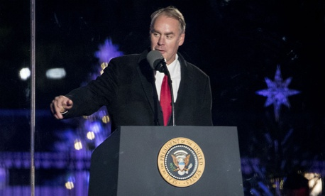 Interior Secretary Ryan Zinke speaks at the lighting of the national Christmas tree.