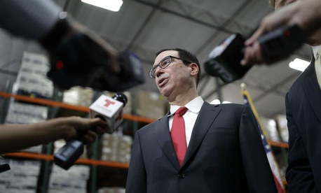 Treasury Secretary Steven Mnuchin speaks at a news conference in August.