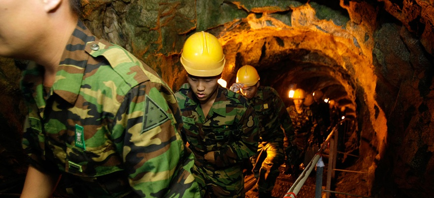 South Korean soldiers visit the 2nd Underground Tunnel for security sightseeing against North Korea near the demilitarized zone in 2008.
