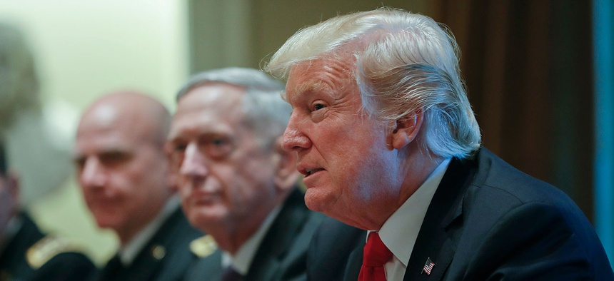 President Donald Trump speaks during a briefing with senior military leaders with National Security Adviser H.R. McMaster and Defense Secretary Jim Mattis in October.