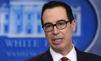 Treasury Secretary Steven Mnuchin speaks with reporters during a White House press briefing Thursday.